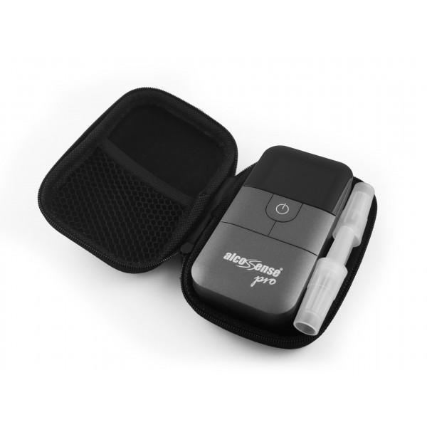 AlcoSense Pro and Ultra Carry Case, 2 mouthpieces fit next to the AlcoSense unit.